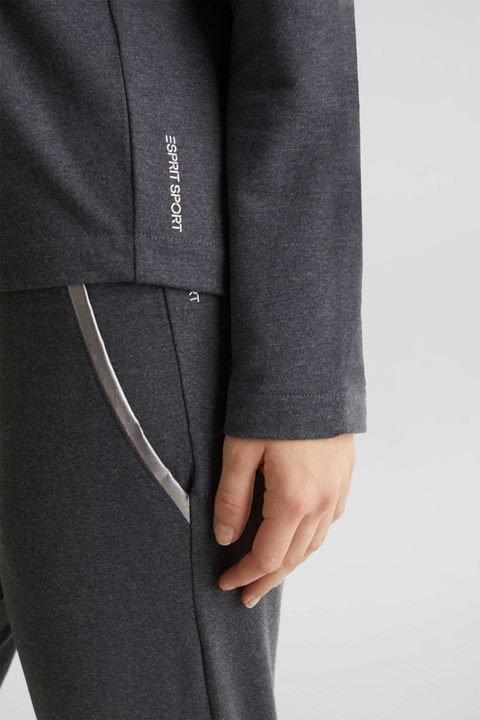 Lightweight sweatshirt with stripes and drawstring ties, ANTHRACITE 2, detail image number 5