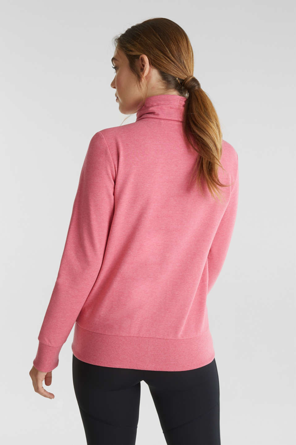 Sweatshirt cardigan with a drawstring collar, CORAL 2, detail image number 3