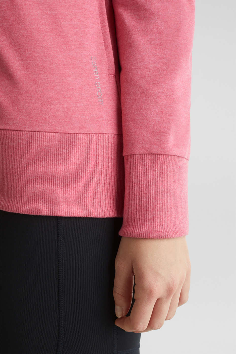 Sweatshirt cardigan with a drawstring collar, CORAL 2, detail image number 2