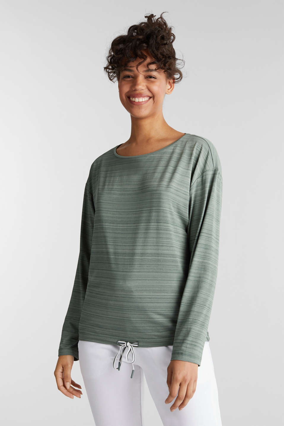 Active long sleeve top with a drawstring, E-DRY, LIGHT KHAKI, detail image number 0