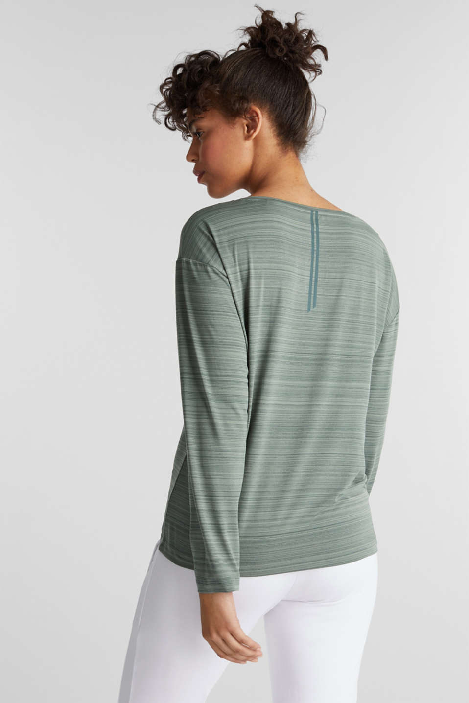 Active long sleeve top with a drawstring, E-DRY, LIGHT KHAKI, detail image number 3