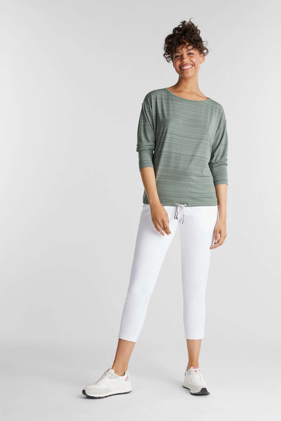 Active long sleeve top with a drawstring, E-DRY, LIGHT KHAKI, detail image number 1