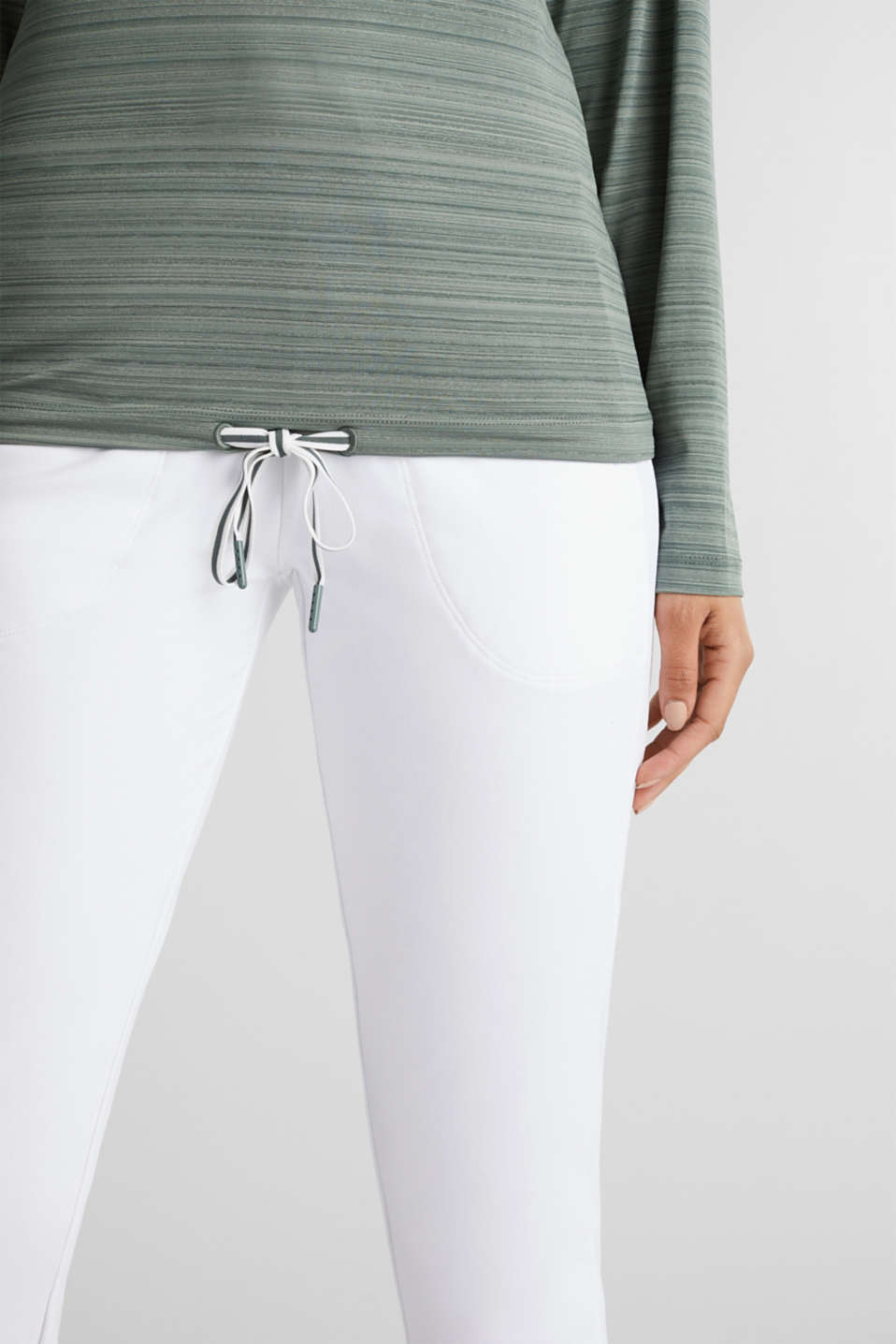 Active long sleeve top with a drawstring, E-DRY, LIGHT KHAKI, detail image number 2