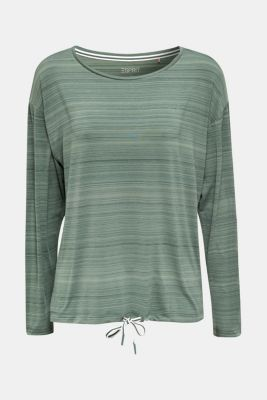 Active long sleeve top with a drawstring, E-DRY, LIGHT KHAKI, detail