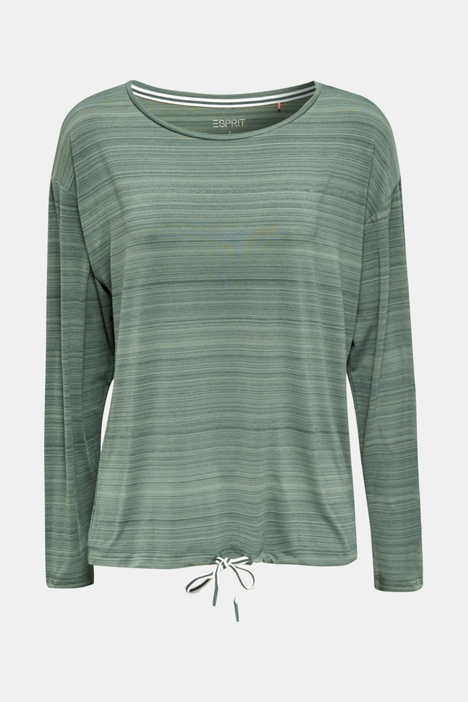 Active long sleeve top with a drawstring, E-DRY, LIGHT KHAKI, detail image number 6