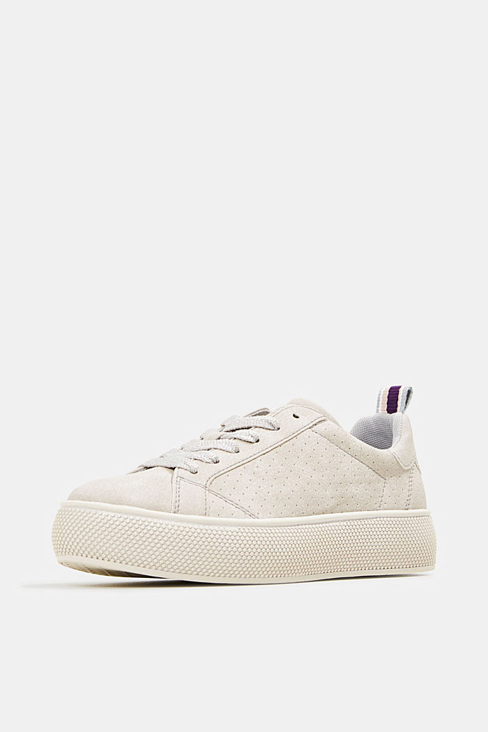 Faux leather trainers with a wide sole, LIGHT GREY, detail image number 2