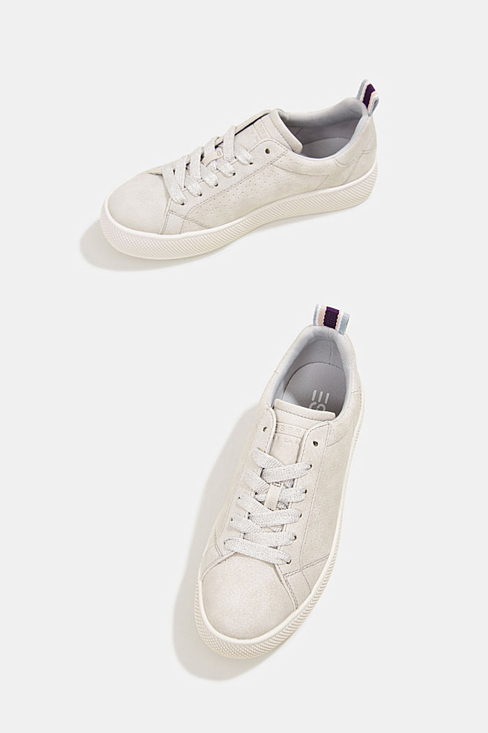 Faux leather trainers with a wide sole, LIGHT GREY, detail image number 6