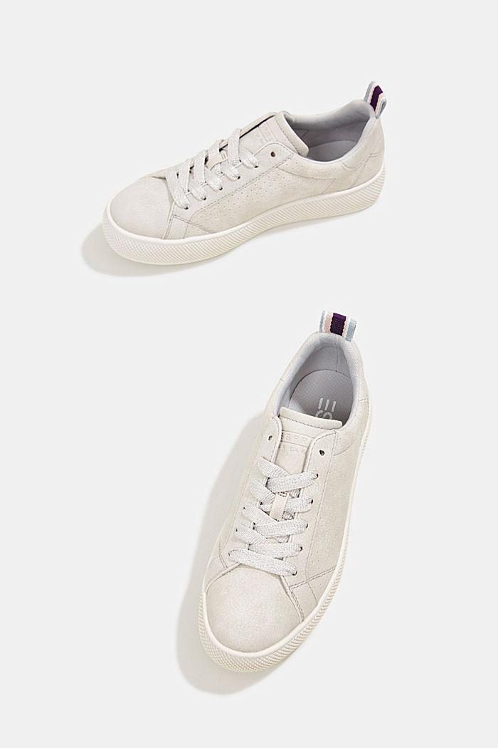 Sneakers in leerlook met een brede zool, LIGHT GREY, detail image number 6