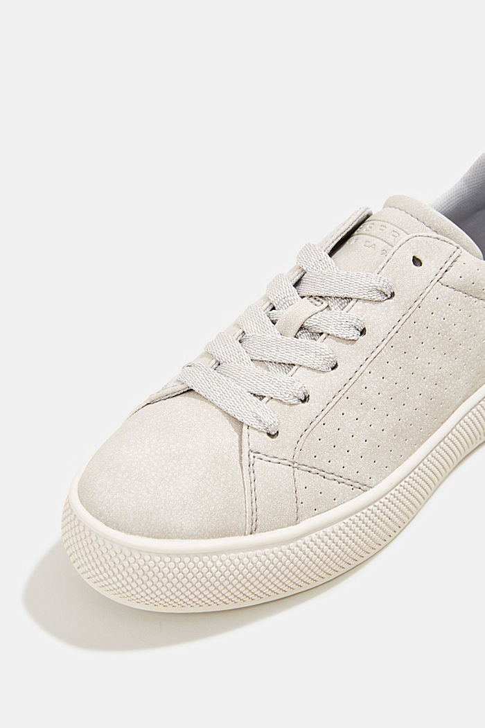 Faux leather trainers with a wide sole, LIGHT GREY, detail image number 4
