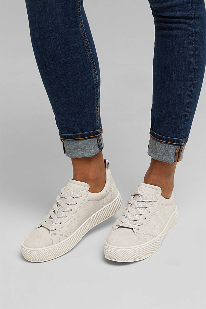 Faux leather trainers with a wide sole