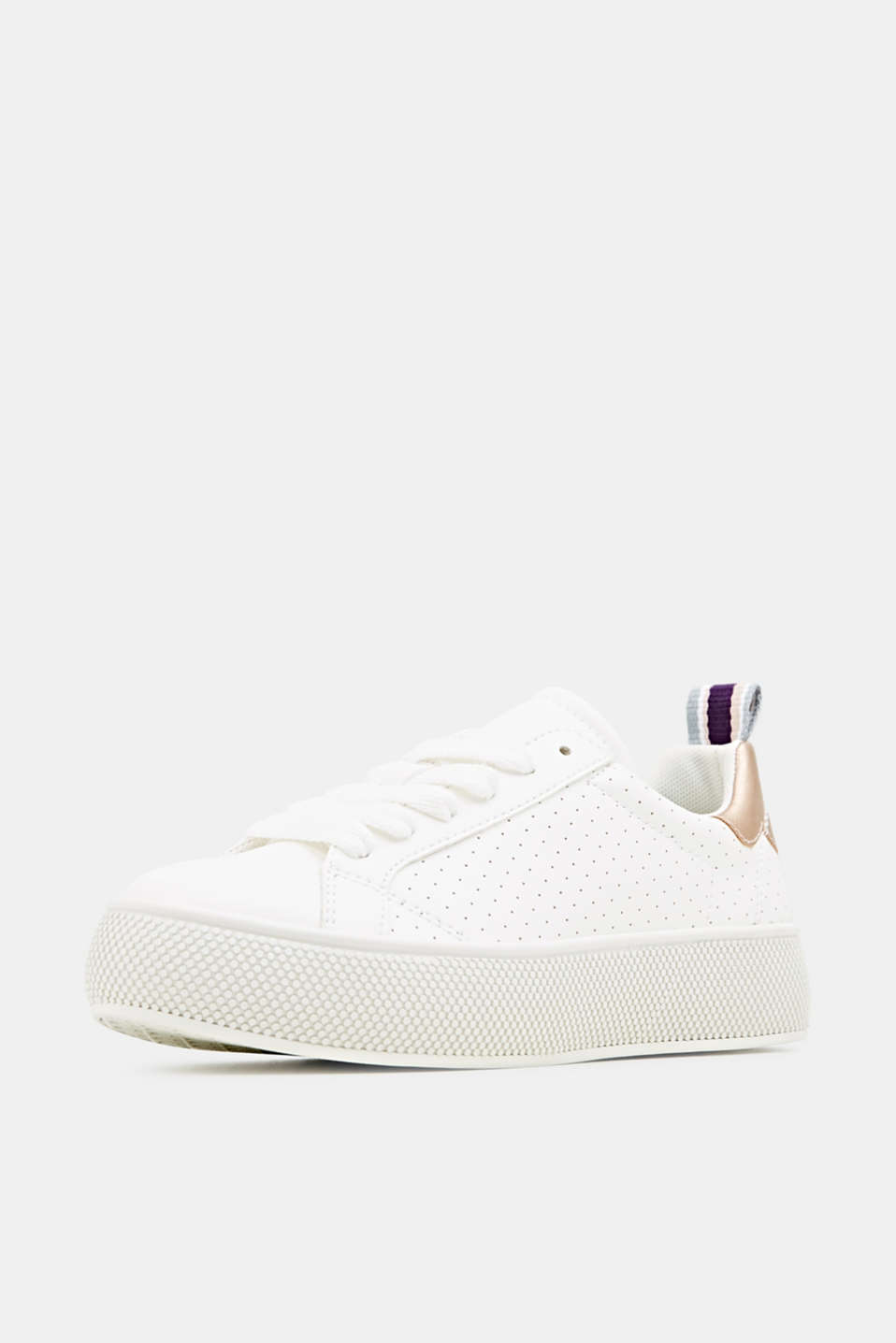 Platform trainers with a perforated pattern, WHITE, detail image number 2