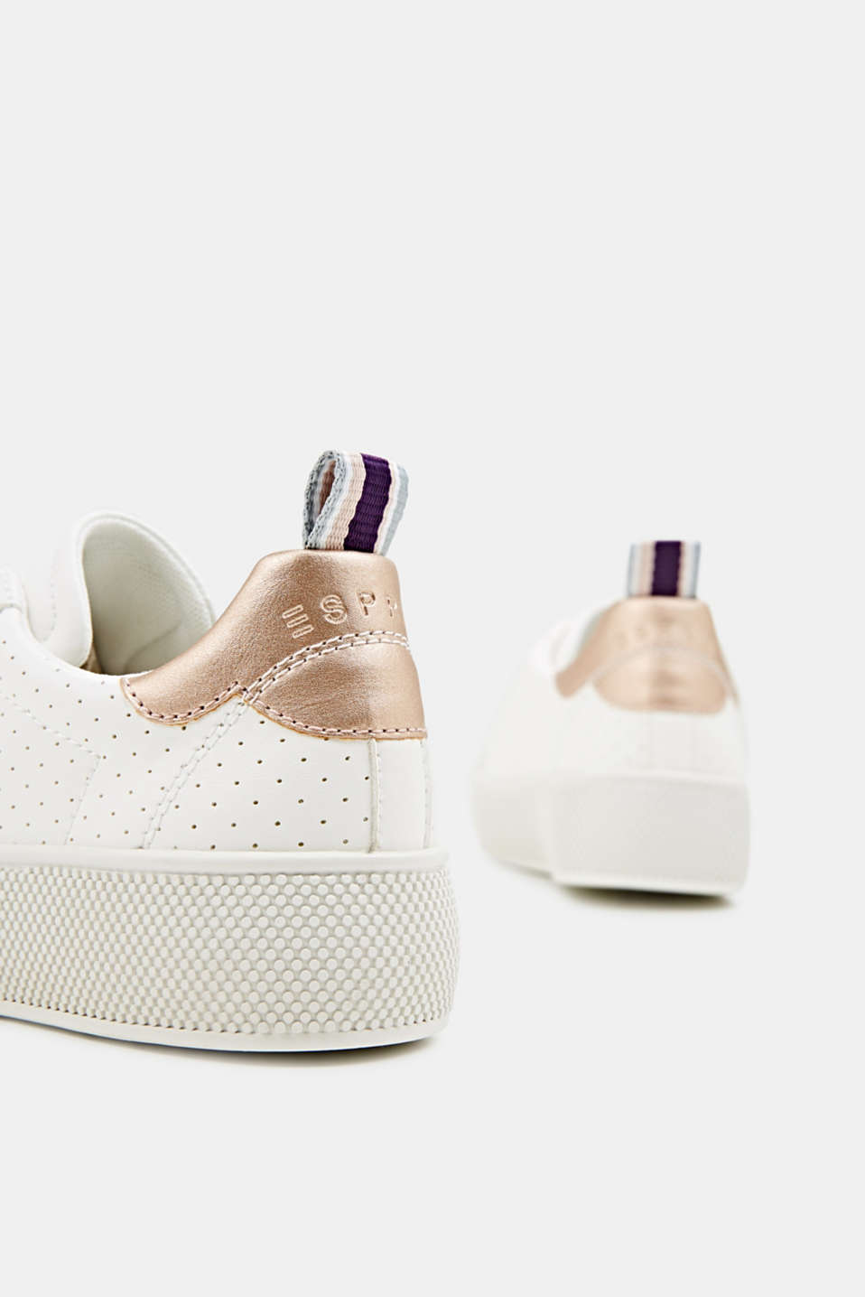 Platform trainers with a perforated pattern, WHITE, detail image number 5