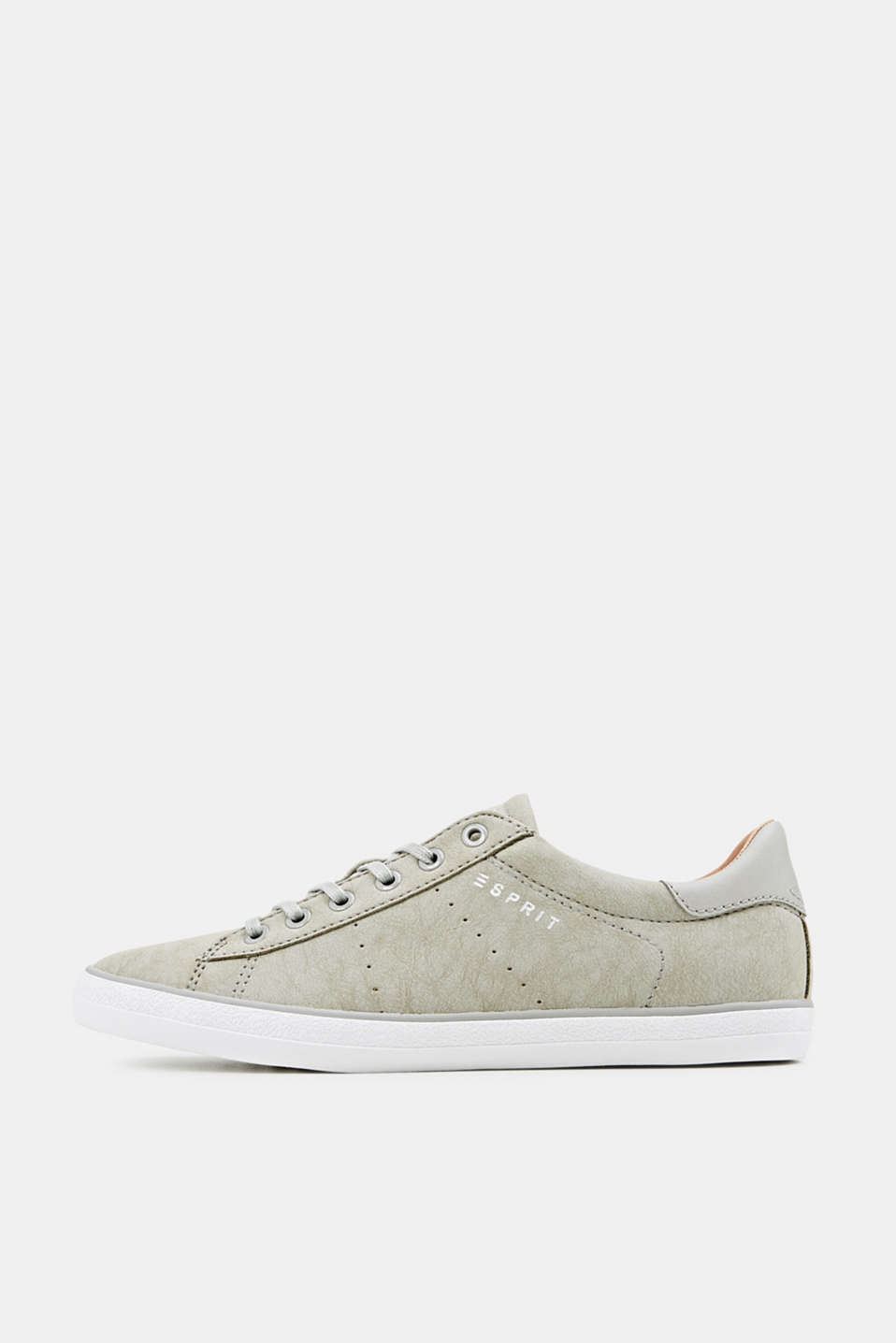 Flat faux leather trainers, LIGHT GREY, detail image number 0