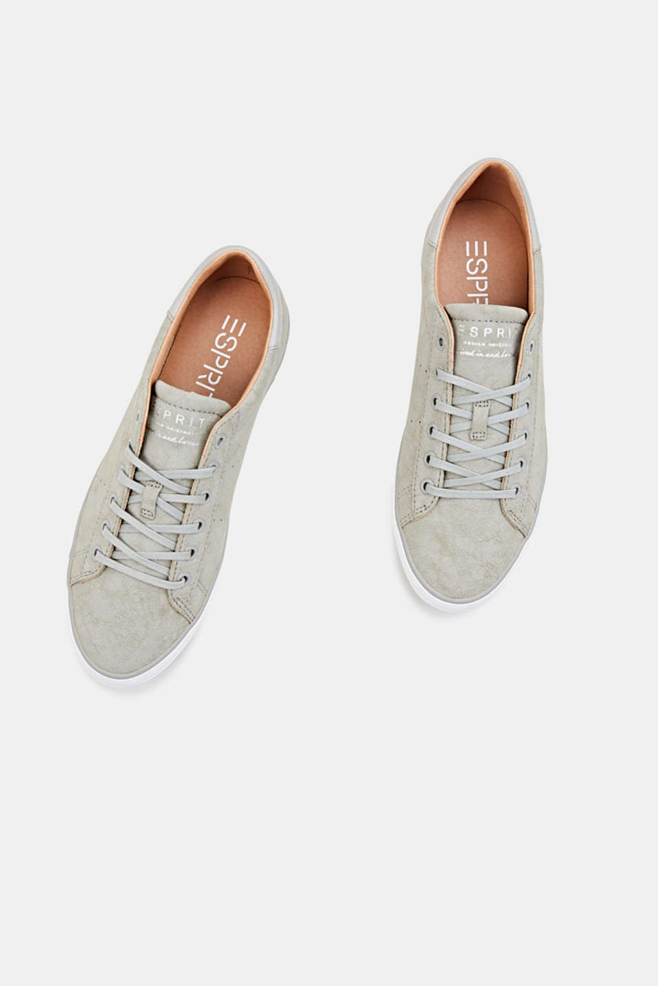 Flat faux leather trainers, LIGHT GREY, detail image number 1