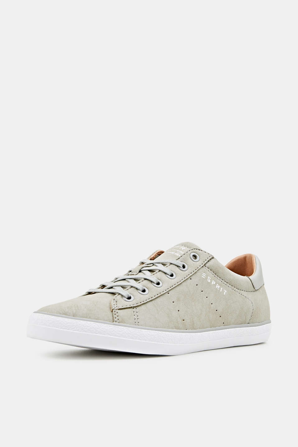 Flat faux leather trainers, LIGHT GREY, detail image number 2