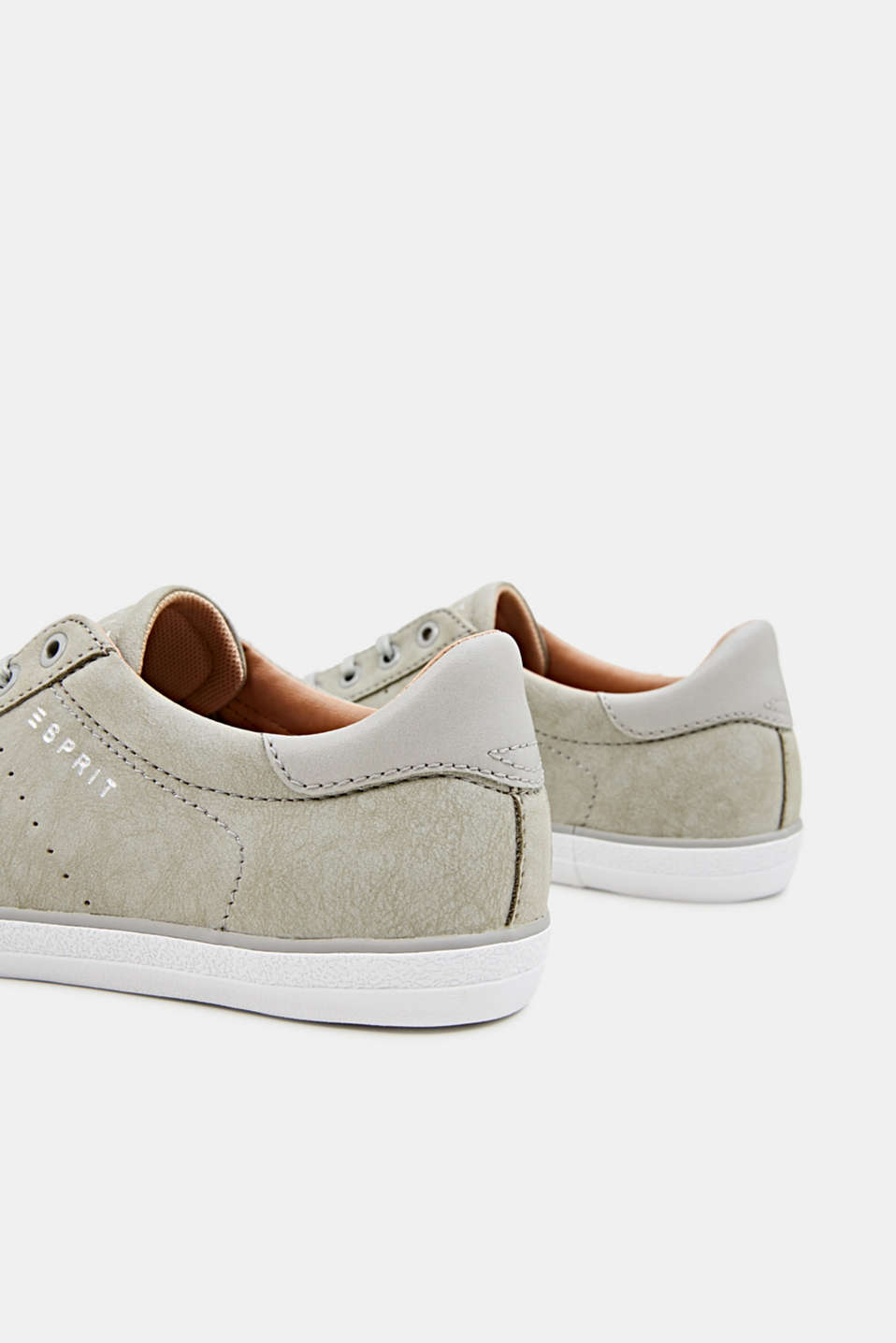 Flat faux leather trainers, LIGHT GREY, detail image number 5