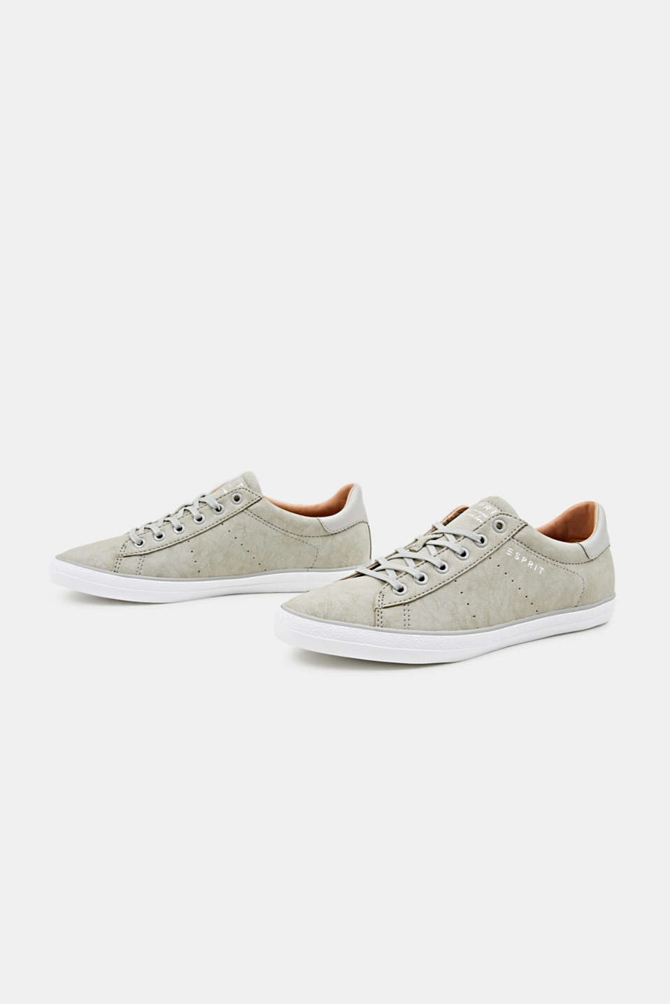 Flat faux leather trainers, LIGHT GREY, detail image number 4