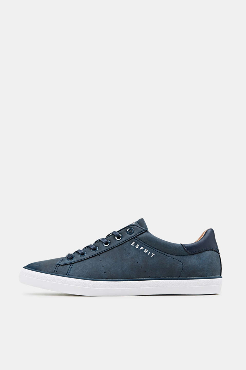 Flat faux leather trainers, NAVY, detail image number 0