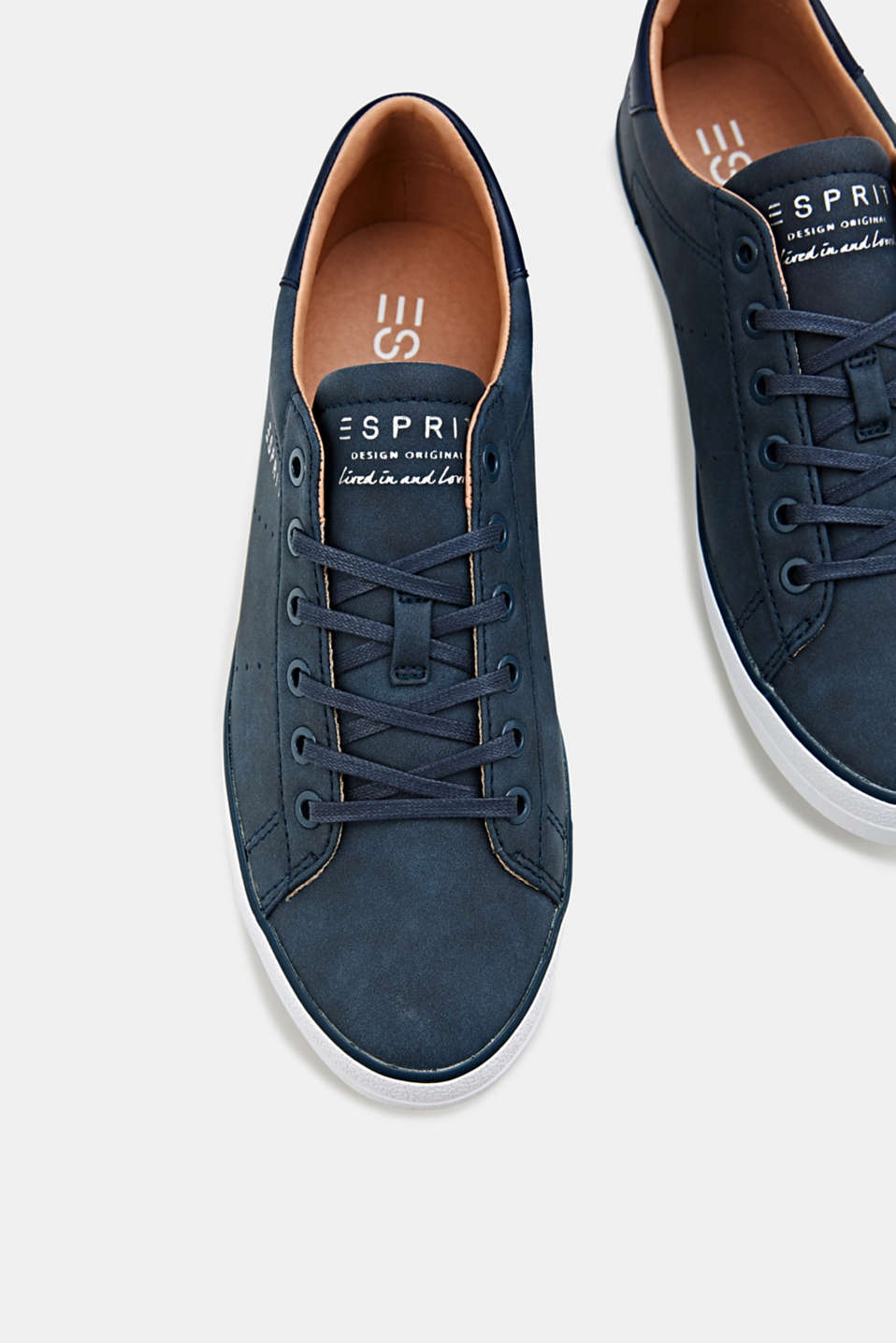 Flat faux leather trainers, NAVY, detail image number 1