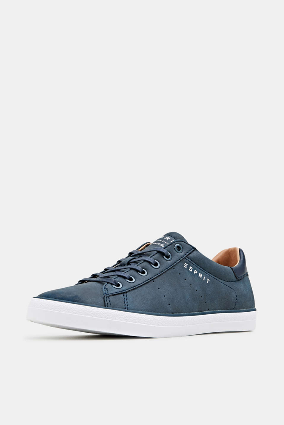 Flat faux leather trainers, NAVY, detail image number 2