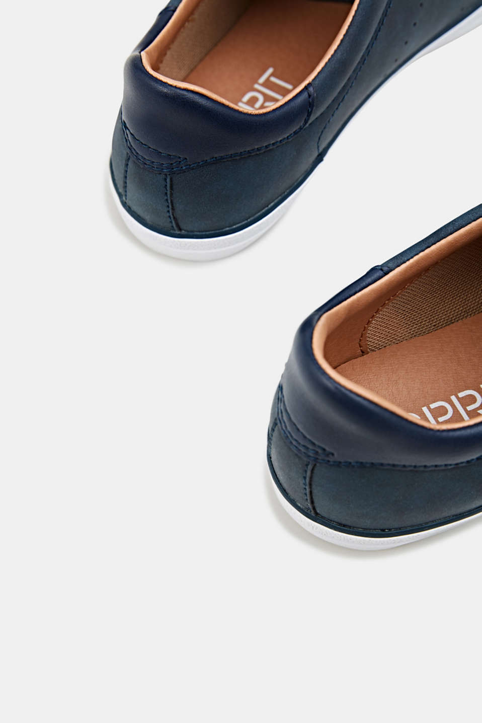Flat faux leather trainers, NAVY, detail image number 5