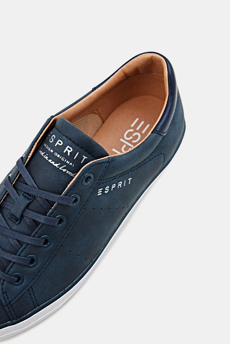 Flat faux leather trainers, NAVY, detail image number 4