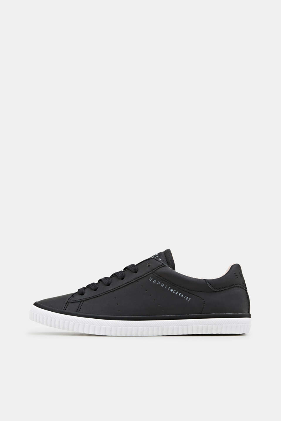 Lace-up trainers with a perforated pattern, BLACK, detail image number 0