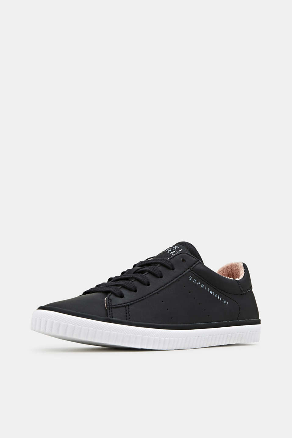 Lace-up trainers with a perforated pattern, BLACK, detail image number 2