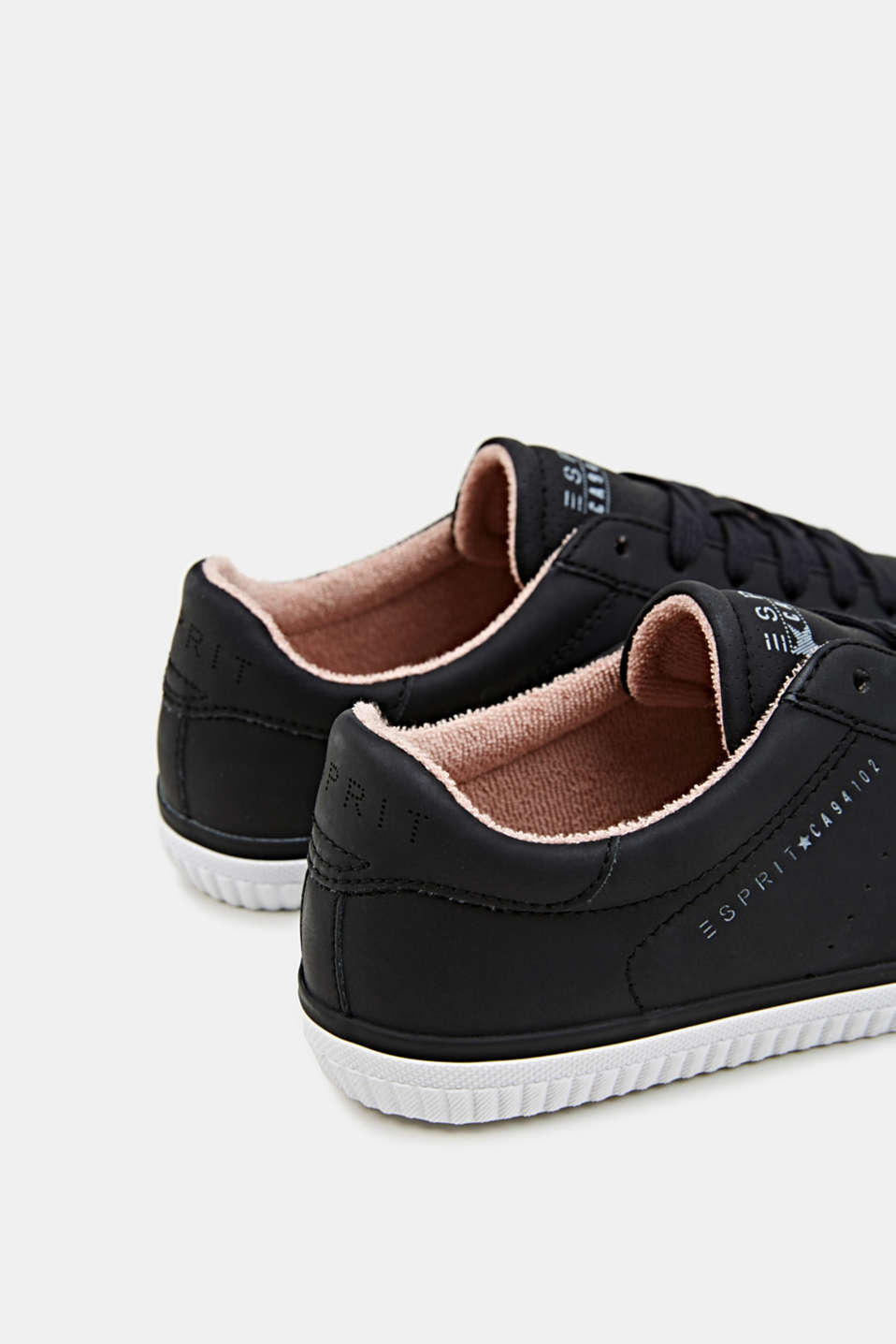Lace-up trainers with a perforated pattern, BLACK, detail image number 5