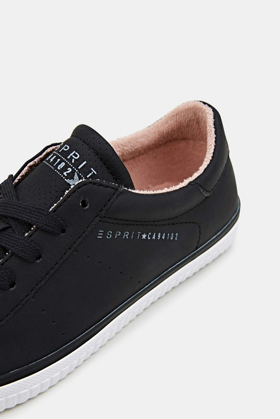 Lace-up trainers with a perforated pattern, BLACK, detail image number 4