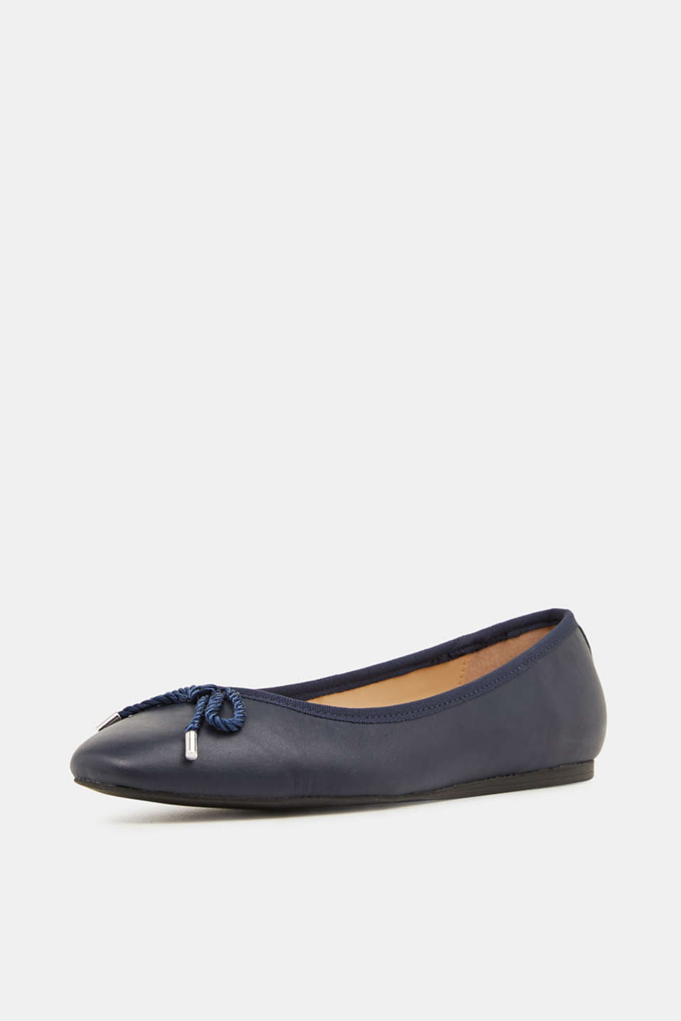 Made of leather: Ballerina with a cord bow, NAVY, detail image number 1