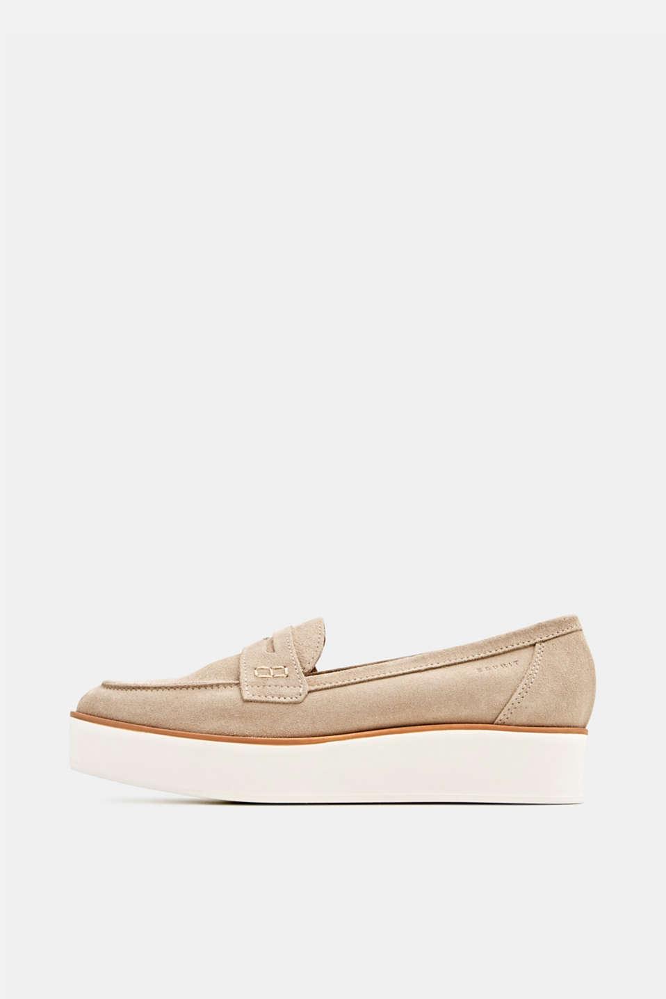 Platform suede loafers, BEIGE, detail image number 0