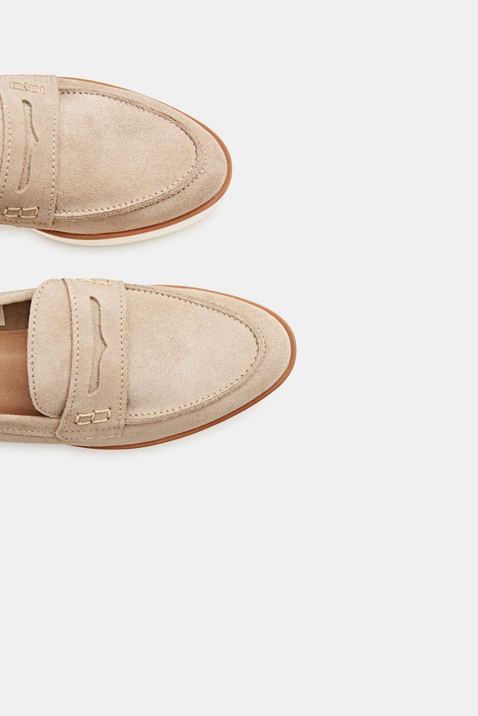 Platform suede loafers, BEIGE, detail image number 1