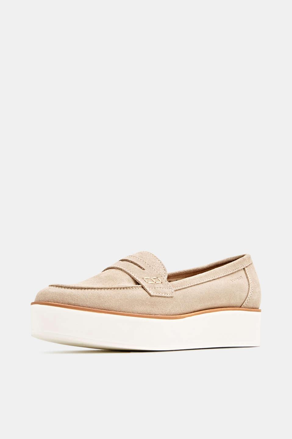 Platform suede loafers, BEIGE, detail image number 2