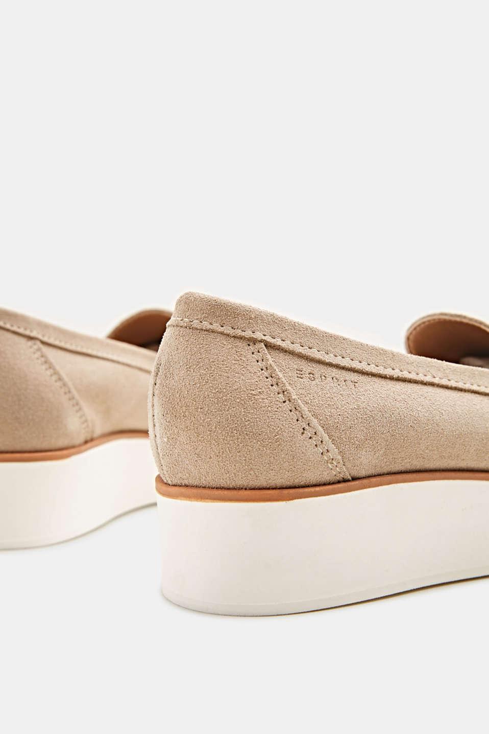 Platform suede loafers, BEIGE, detail image number 4