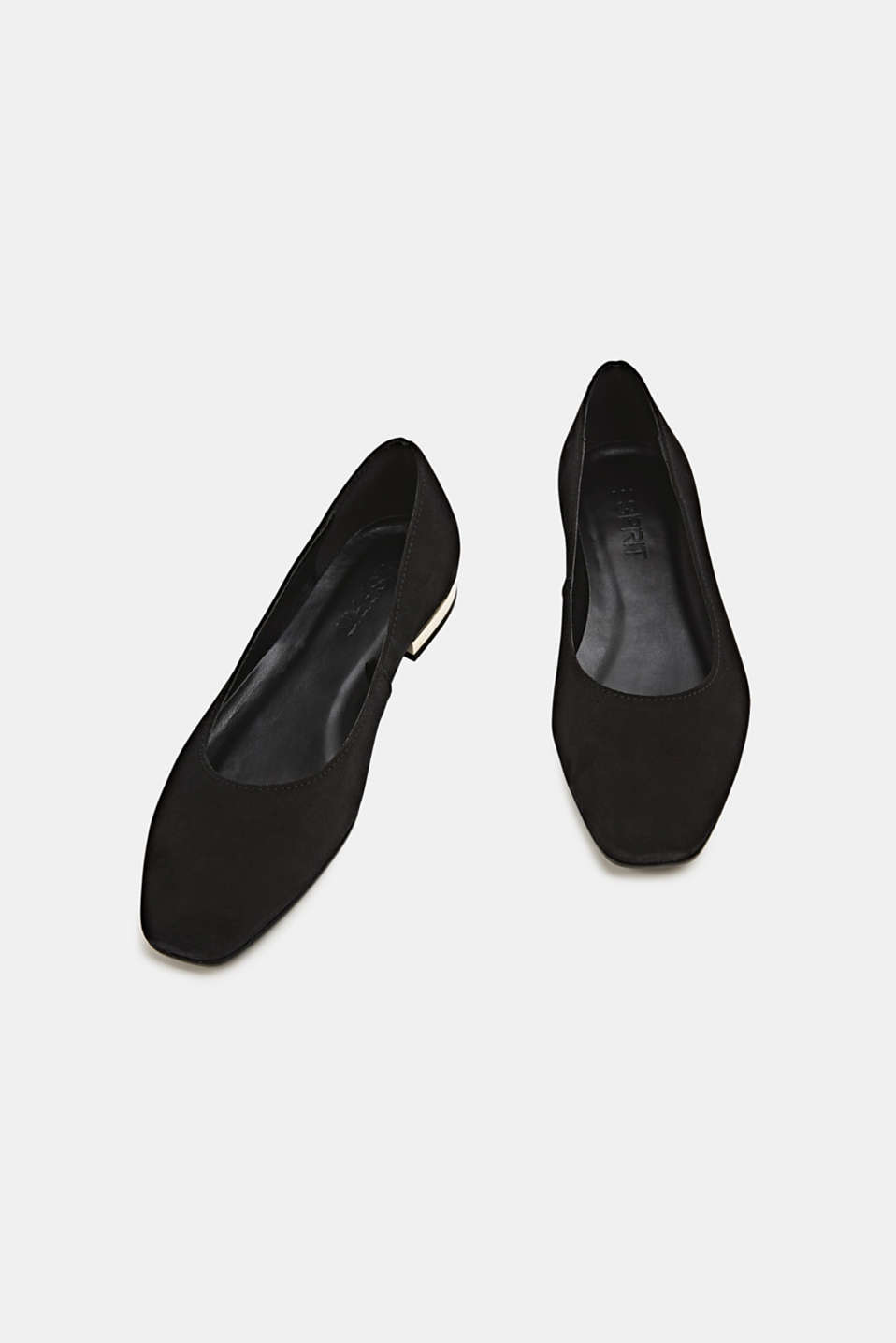 Made of suede: ballerinas with a shiny heel, BLACK, detail image number 1