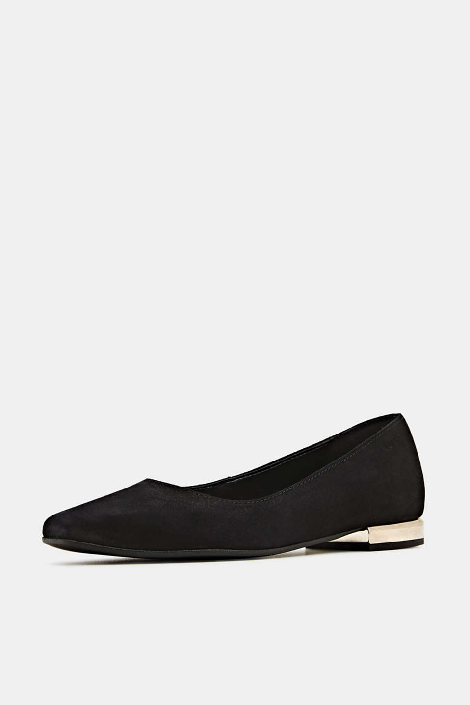 Made of suede: ballerinas with a shiny heel, BLACK, detail image number 2