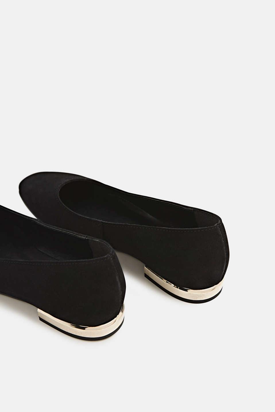 Made of suede: ballerinas with a shiny heel, BLACK, detail image number 5