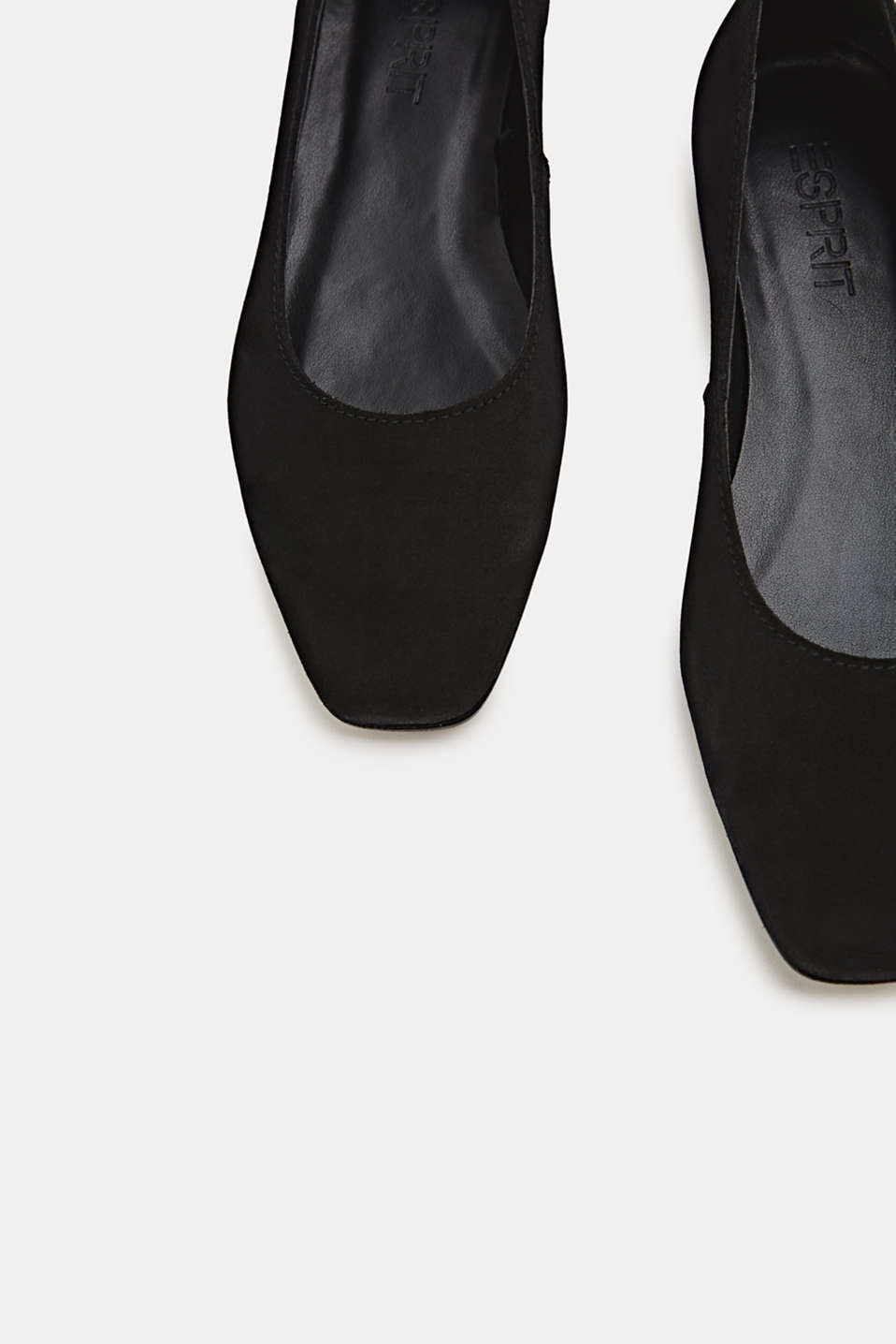 Made of suede: ballerinas with a shiny heel, BLACK, detail image number 4