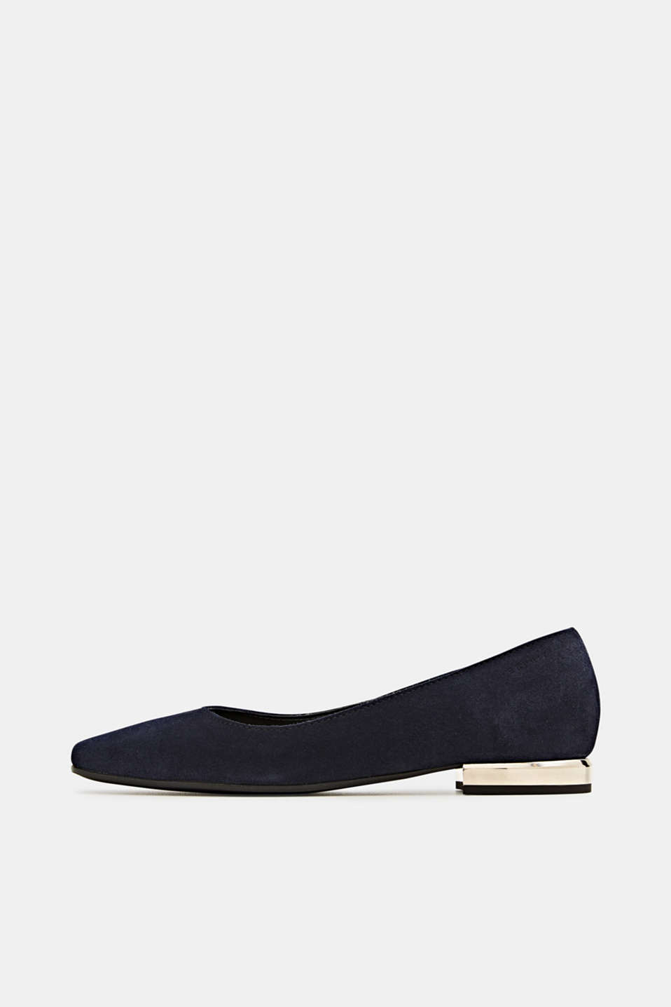 Made of suede: ballerinas with a shiny heel, NAVY, detail image number 0