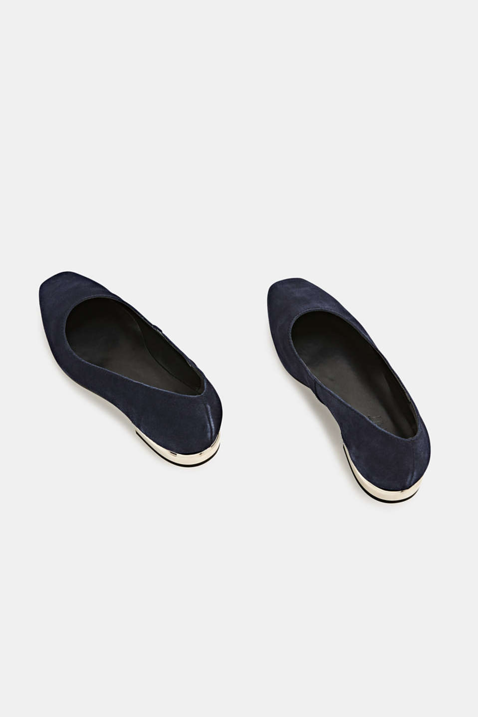 Made of suede: ballerinas with a shiny heel, NAVY, detail image number 1