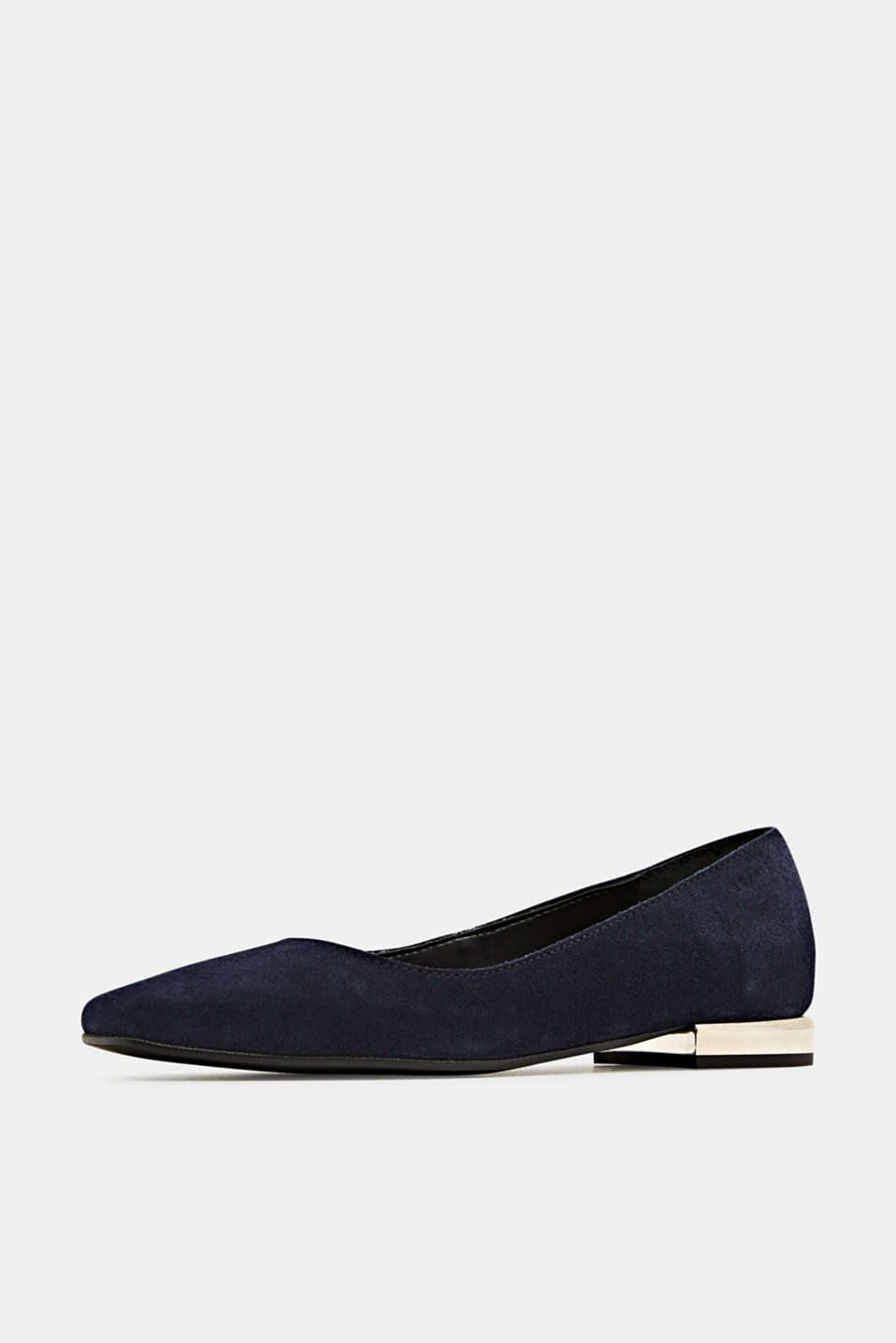 Made of suede: ballerinas with a shiny heel, NAVY, detail image number 2