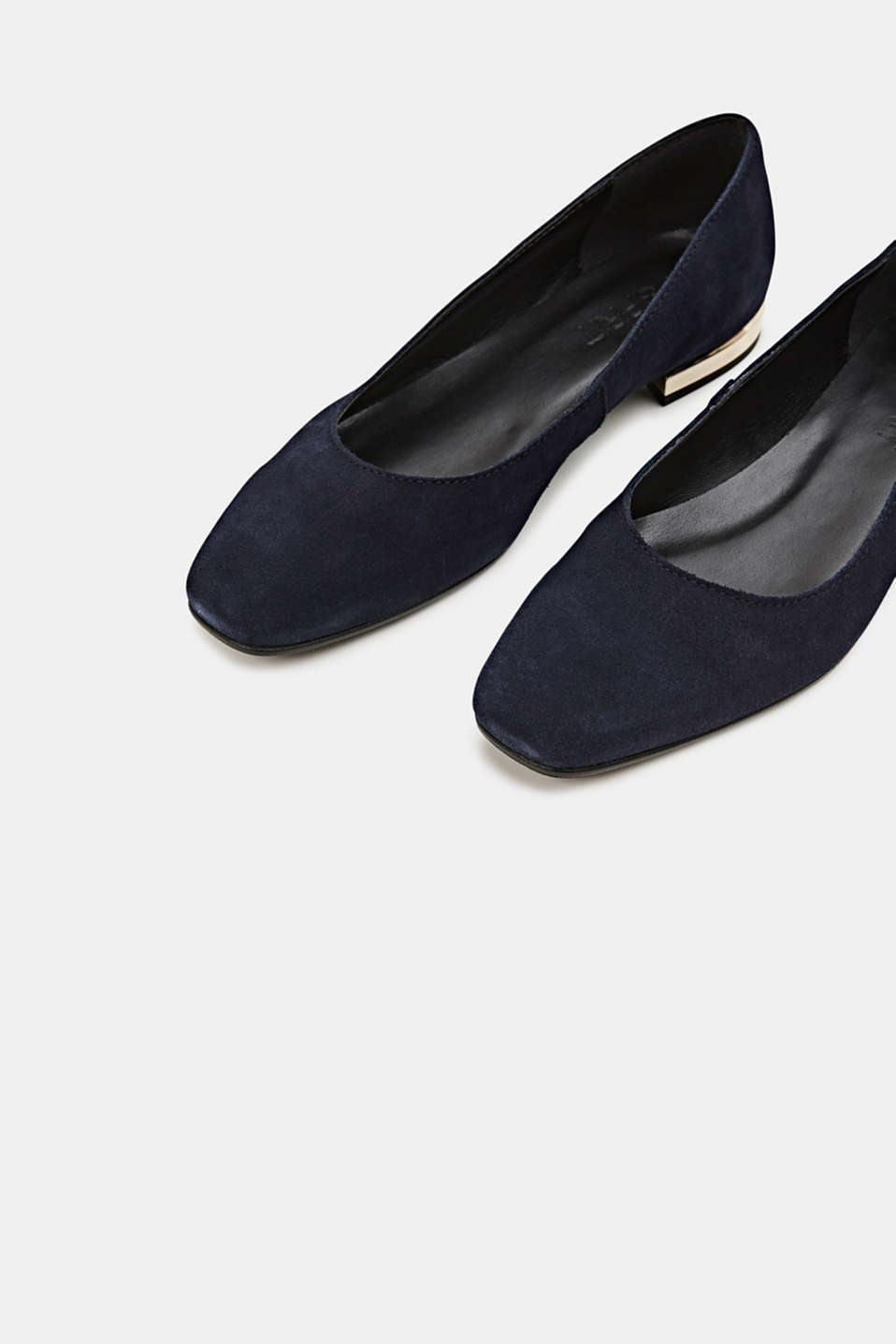 Made of suede: ballerinas with a shiny heel, NAVY, detail image number 4