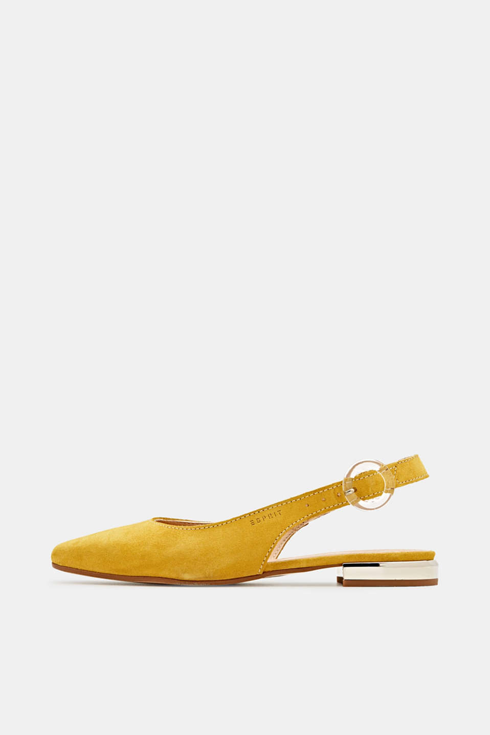 Sling back suede ballerinas, YELLOW, detail image number 0