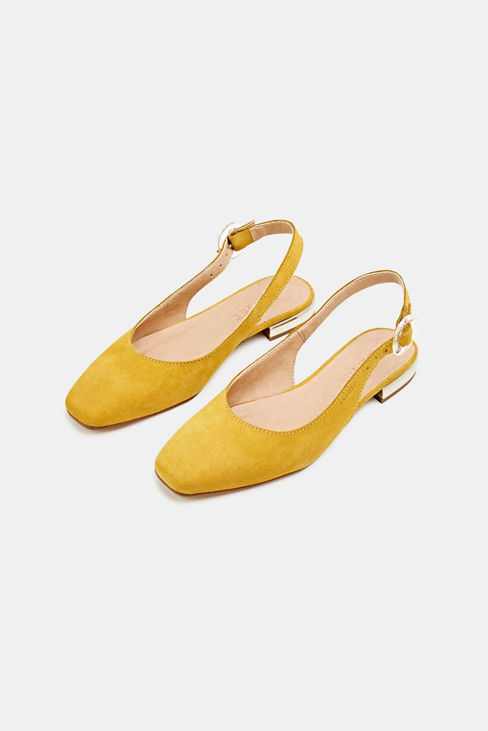 Sling back suede ballerinas, YELLOW, detail image number 1