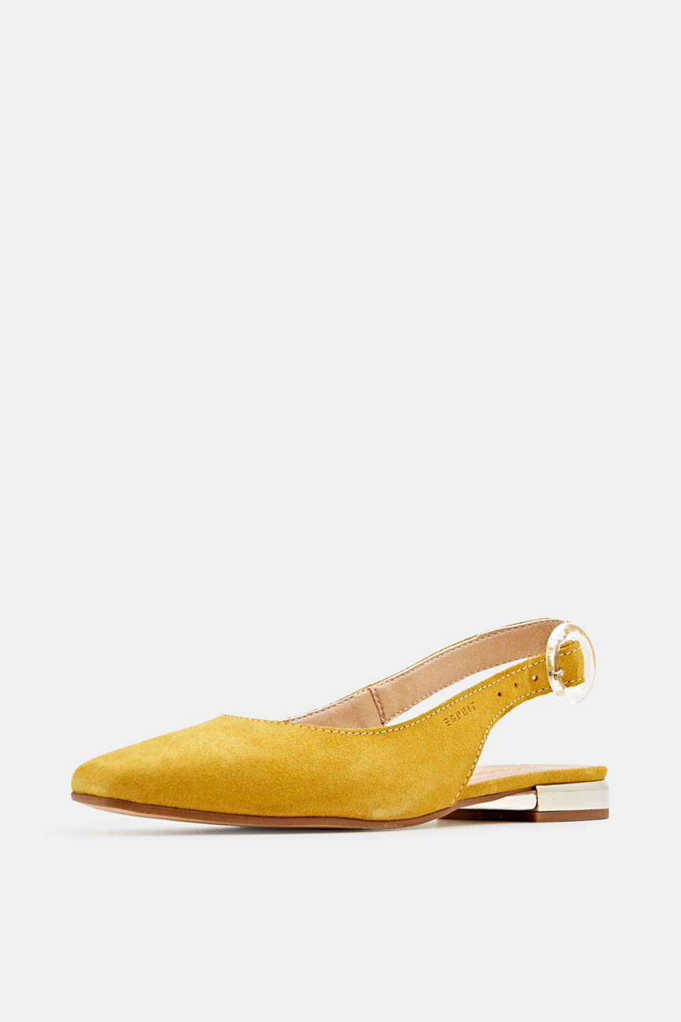 Sling back suede ballerinas, YELLOW, detail image number 2