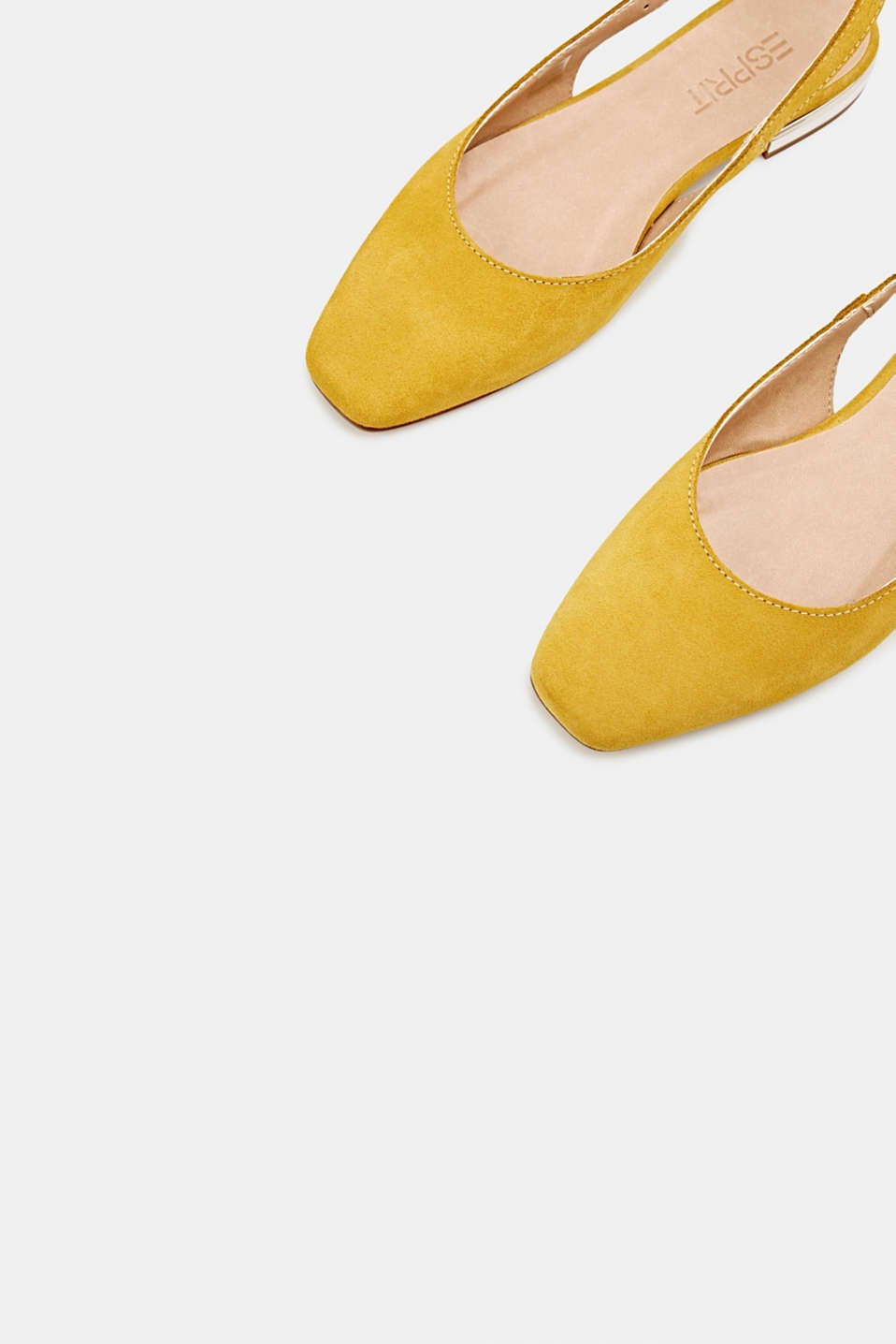 Sling back suede ballerinas, YELLOW, detail image number 5