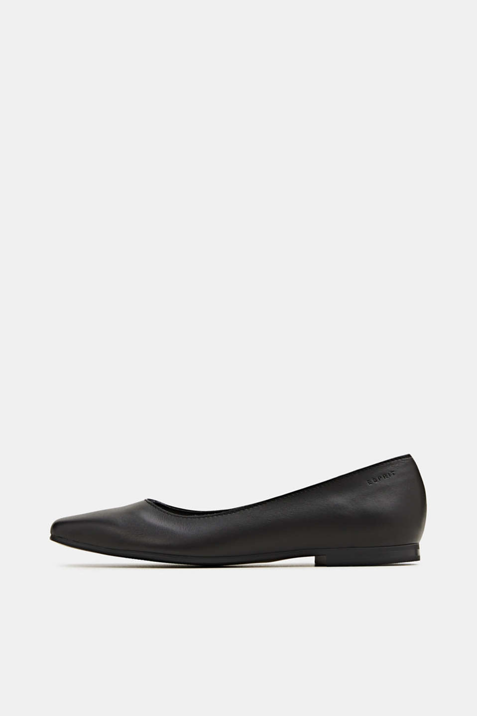 Made of leather: square toe ballerinas, BLACK, detail image number 0