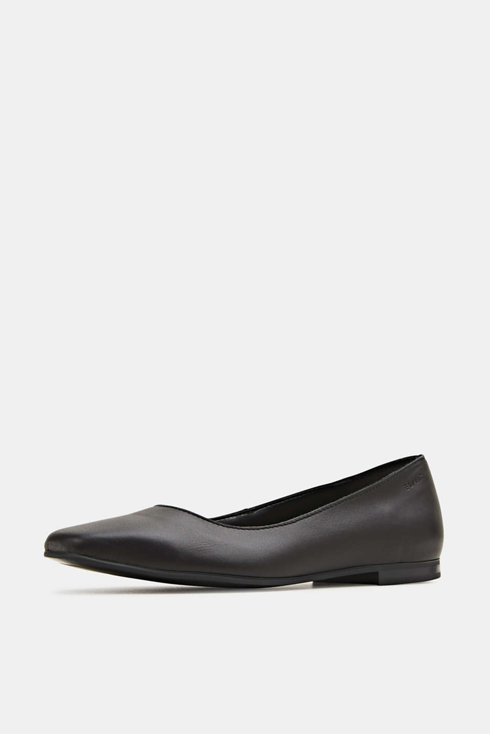 Made of leather: square toe ballerinas, BLACK, detail image number 1