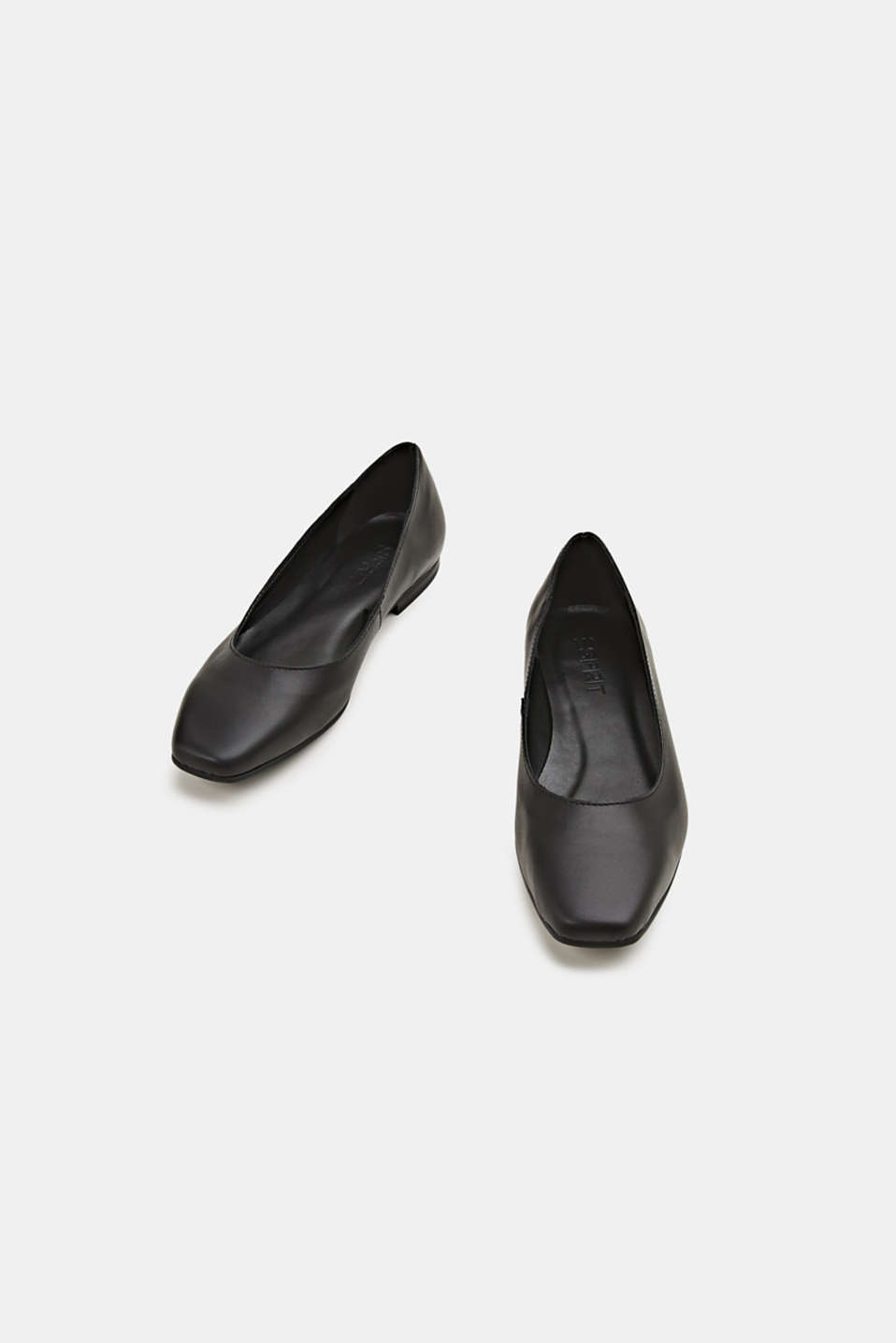 Made of leather: square toe ballerinas, BLACK, detail image number 4